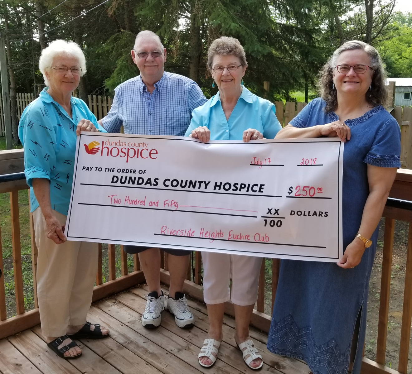 Euchre Club Donation July 2018